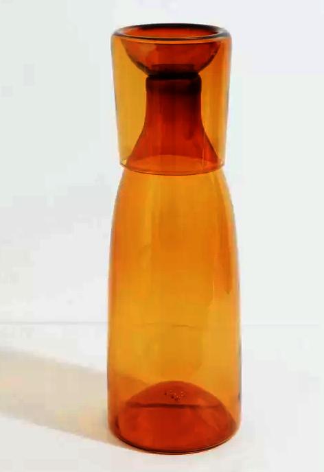Mouth Blown Glass Carafe 22 oz - Mustard
