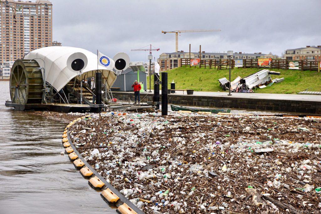 Mr Trash Wheel river cleanup barge