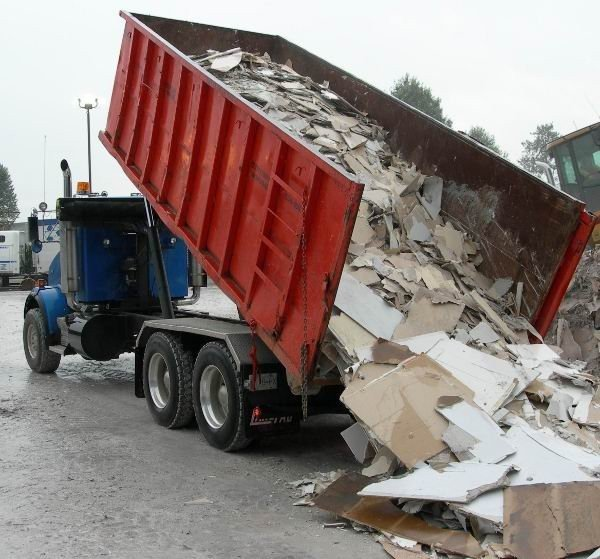 dumpster with gypsum for recycling