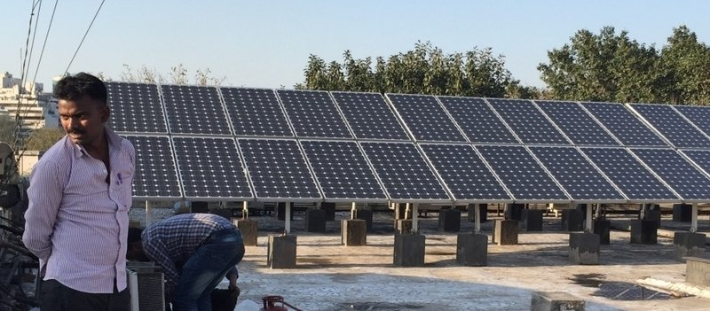 solar panels in India's renewable energy plan